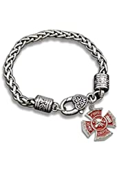 Ladies Firefighter Charm Bracelet (Antique Silver) Firefighter's Wife