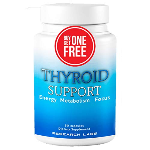 Research Labs Thyroid Support Supplement + Iodine – BUY 1 GET 1 FREE – Boosts Energy & Metabolism for Weight Loss, Enhances Mental Clarity – Cortisol Manager – Success Backed by Science & Research
