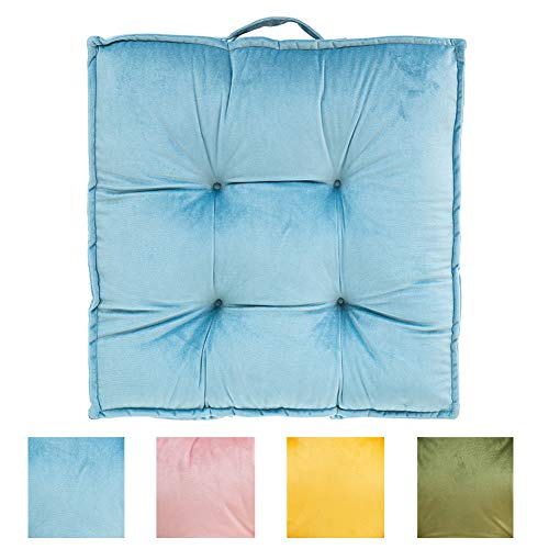 Large and Thicken Floor Cushions Seating for Adults - Yoga Meditation Cushion Pillow Velvety Futon Tatami Mat Square Balcony Pillows Seating with Handle 23.6''X23.6'', Blue