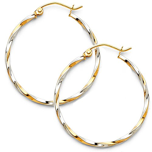 14k Two Tone Gold 1.5mm Thickness Twisted Tube Hoop Earrings (25 x 25 ()