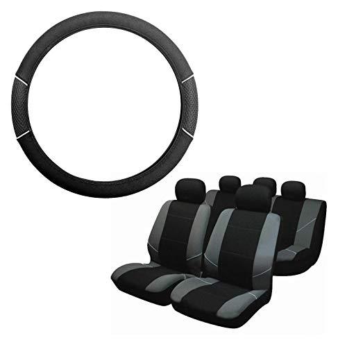 UKB4C Grey & Black Steering Wheel & Seat Cover set for Saab 9-5 95 All Models:
