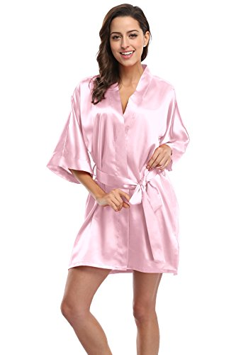 CostumeDeals KimonoDeals Women's dept Solid Color Soft Satin Short Kimono Robe for Wedding-Light Pink S