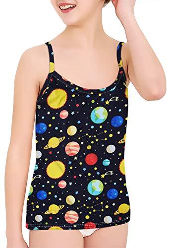 Goodstoworld Black Tank Tops for Girls Kids Camisole Galaxy Undershirts Spaghetti Strap Shirt Top Playwear Sleepwear Party Club Beach School Vacation Sleevelss T-Shirt 9-10 Years (Planet Underwear)