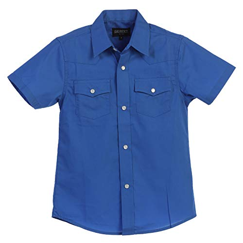 Gioberti Boys Solid Short Sleeve Western Shirt, Royal Blue Size 5 Boys Blue Ss Shirt Top