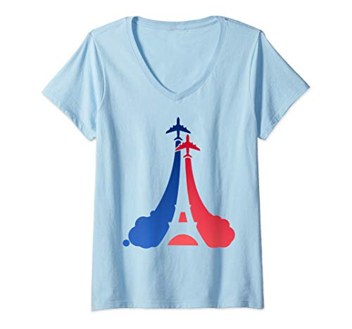 Womens Bastille Day French Flag Eiffel Tower V-Neck T-Shirt