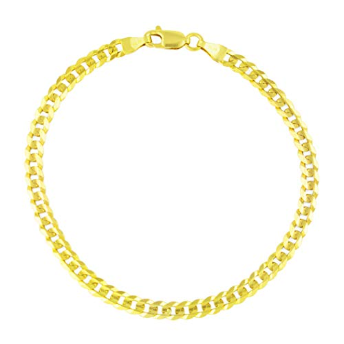 (Unisex 14k Yellow Gold Solid 4mm Cuban Curb Chain Bracelet or Anklet, 7