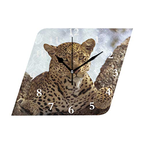 Diamond Outdoor Clock - HangWang Wall Clock Spotted Panther Wild Life Silent Non Ticking Decorative Diamond Digital Clocks Indoor Outdoor Kitchen Bedroom Living Room