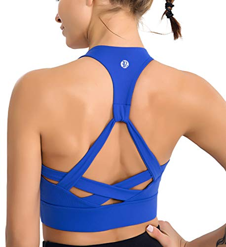 RUNNING GIRL Womens Racerback Sports Bra-Padded Medium Impact Workout Bra for Yoga Gym Actives and Fitness (2171 Royal Blue, XL)
