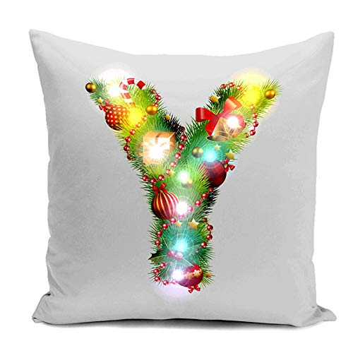 Flax Pillowcase Lights Y Pillow Alexis Christmas Decoration Pillow Case with Square Alexsix LED Cases Santa Home Snowflake Pattern 4q840T