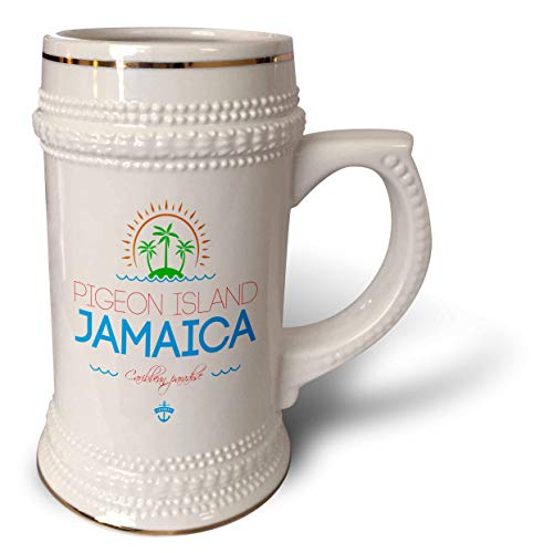 (3dRose Alexis Design - Caribbean Beaches Jamaica - Pigeon Island, Jamaica elegant text, images. Good travel gift - 22oz Stein Mug (stn_313578_1))