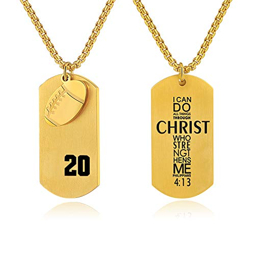 VI.SPORT Football Player 20 Dog Tag Pendant,Religious Verse I Can Do All Things Necklace (Gold)