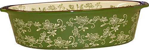 Temp-tations Oval 2.5 Quart Baker CasseroleDish Replacement - Floral Lace Green