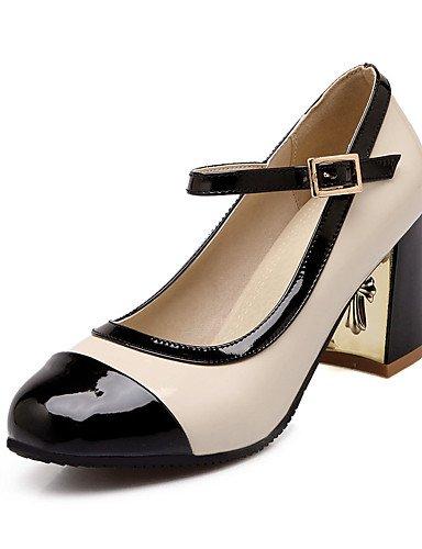 GGX/ Damenschuhe-High Heels-Büro / Kleid / Lässig-Lackleder-Blockabsatz-Absätze / Pumps / Rundeschuh-Schwarz / Rosa / Rot / Mandelfarben black-us8.5 / eu39 / uk6.5 / cn40