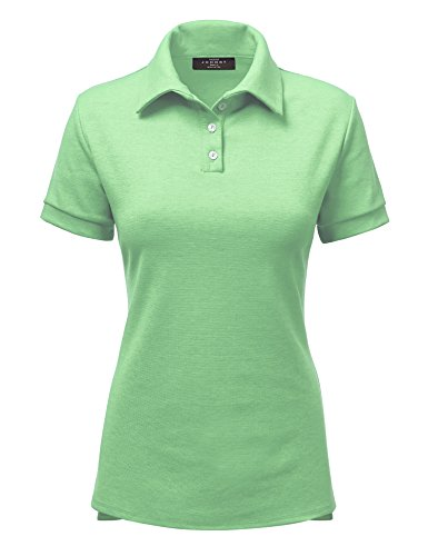 Made By Johnny WT1489 Womens Short Sleeve Polo T-Shirt With Side Slit XL Mint