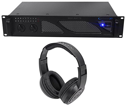 Technical Pro PX3000 Professional 2U 2-Ch. 3000W Power DJ Amplifier+Headphones (Dj 3000)