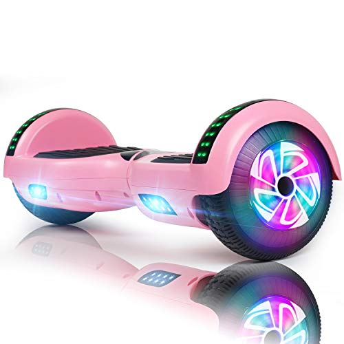 """FLYING-ANT Hoverboard Self Balancing Scooters 6.5"""" Flash Two-Wheel Self Balancing Hoverboard with Bluetooth Speaker and LED Lights for Kids and Adults Gift (Pink Bluetooth)"""