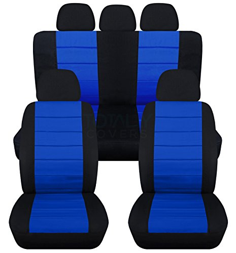 2-Tone Car Seat Covers w 5 (2 Front + 3 Rear) Headrest Covers: Black and Dark Blue - Semi-custom Fit - Full Set - Will Make Fit ANY Car/Truck/Van/SUV (22 Colors) (Custom Headrest)