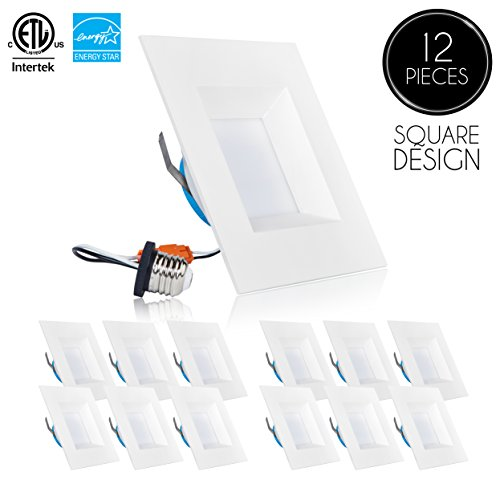Square Recessed Lighting Trim (Parmida (12 Pack) 6 inch Dimmable LED Square Retrofit Recessed Downlight, 12W (100W Replacement), 950lm, 5000K (Day Light), ENERGY STAR & ETL, LED Ceiling Can Light, LED Trim)