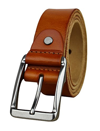 Heepliday Men's Soft Leather 15006 Belt Silver Buckle Orange Small 30-32 Leather