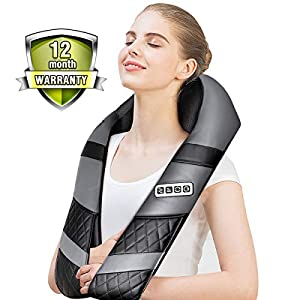 Shiatsu Neck Massager Back Shoulder Massager with Heat – Deep 3D Kneading Massager Shawl for Neck Shoulder Back Waist Hips Legs& Foot Whole Body, Relieve Muscle Pains Soreness and Tensions (Gray)