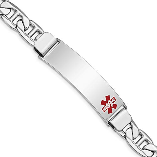 925 Sterling Silver Medical Alert Id Bracelet Nautical Anchor Ship Wheel Mariners Link 8 Inch Fine Jewelry Gifts For Women For Her