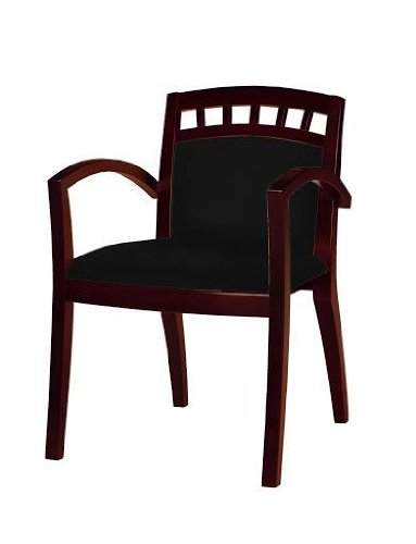 Mayline Mercado Arch-Back Wood Guest Chair, Sierra Cherry, Black Leather, 2/Carton, CT - - Chair Cherry Guest Sierra