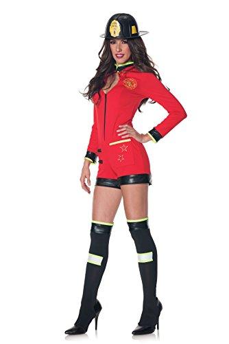 Smokin Hot Firefighter Halloween Costume (Underwraps Women's Smokin, Red/Black,)
