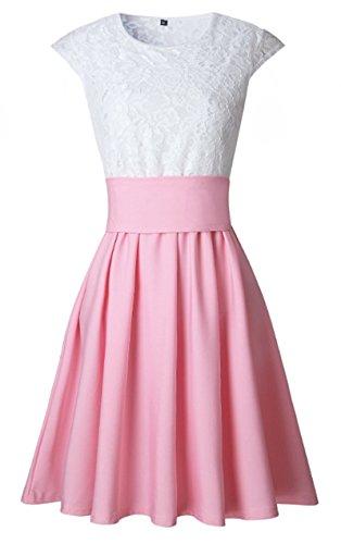 Kleid knielang spitze rosa