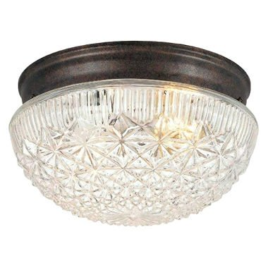 Hardware House 54-4734 Two Light Flush Mount, Classic Bronze Finish with Clear Cut Glass (Flush Mount Light Hardware)