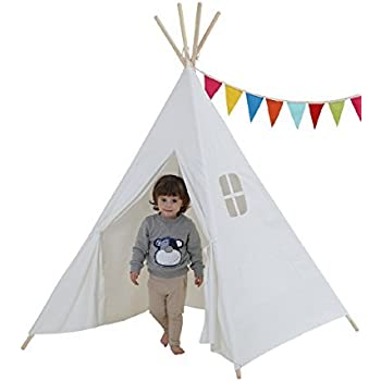 Dream House Classical Indoor Solid White Pure Cotton Canvas Playhouse Indian Teepee Tent for Toddler Kids to Read and Hideaway
