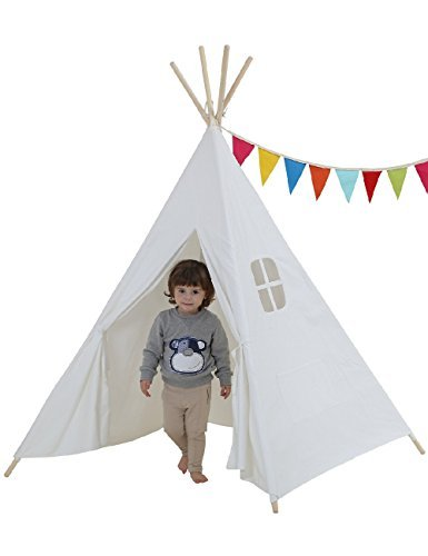 Dream House Classical Indoor Solid White Pure Cotton Canvas Playhouse Indian Teepee Tent for Toddler Kids  sc 1 st  Amazon.com & Amazon.com: Dream House Classical Indoor Solid White Pure Cotton ...