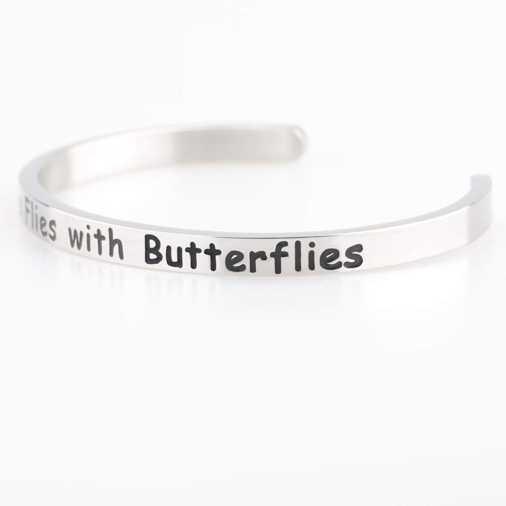 BNQL Now She Flies with Butterflies Cuff Bracelet Remembrace Gift Memorial Jewelry
