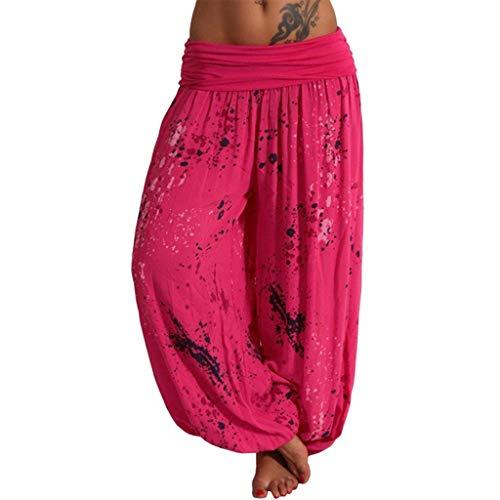 (Nihewoo Women Pants Harem Pants Loose Wide Leg Pants Trousers Boho Yoga Harem Pants Floral Long Pants Lounge Pants Hot Pink)