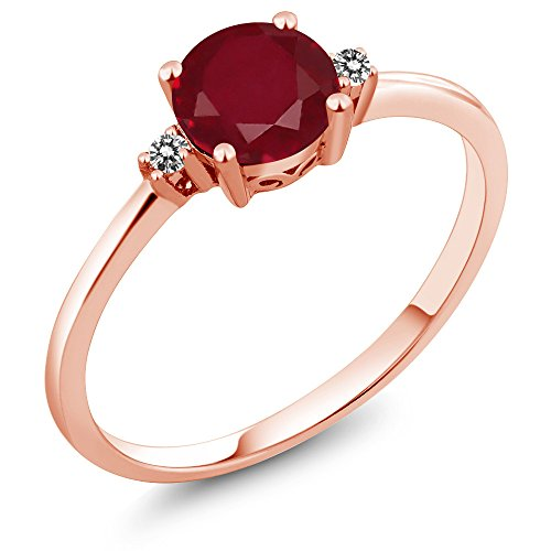 Vintage Diamond Solitaire (10K Rose Gold Engagement Solitaire Ring set with 1.03 Ct Round Red Ruby and White Diamonds)