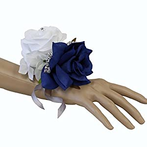 Angel Isabella Wrist Corsage-Beautiful Handmade Wrist Corsage Keepsake Artificial Roses 40+Colors (White/Cobalt Blue) 51