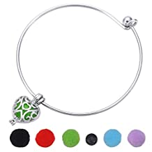 HOUSWEETY Aromatherapy Essential Oil Diffuser Wire Bangle Bracelet Locket Pendant with 5 Ball Refill Pads
