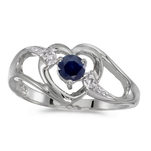 10k White Gold Round Sapphire And Diamond Heart Ring