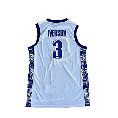 size 40 ef69b 3ff98 Allen Iverson Georgetown Hoyas Away Grey Autographed Jersey ...