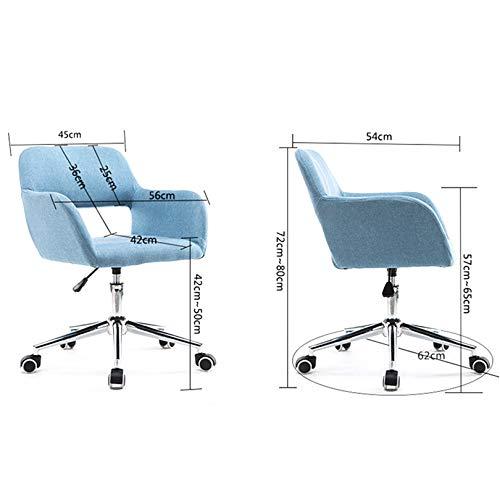 LIYANJJ svängbar stol, 360° rotation ergonomisk skrivbordsstol höjd justerbar med tjock vadderad sittkudde hem kontor skrivbordsstolar linne tyg