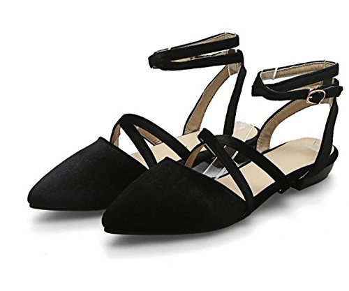Strappy Flats Black Sole Straps Ankle Women's satisfied Shoes qEwC6TP