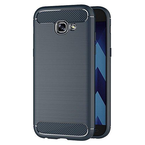 Funda Samsung Galaxy A3 2017, AICEK Samsung A3 2017 A320F/A320FL Funda Negro Gel de Silicona Galaxy A3 2017 Carcasa Fibra de Carbono Funda para Samsung A3 2017 4,7 Pulgadas Azul
