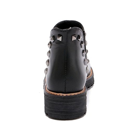 COOLCEPT Women Classical Autumn Chelsea Boots Ankle High With Rivets Black Opv403W