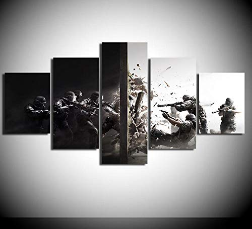 KTFBH 5 Pieces of Living Room Canvas Painting Hd Painting Rainbow Six Siege Picture Poster Canvas Art Wall Decoration Home Decoration Map-No Frame