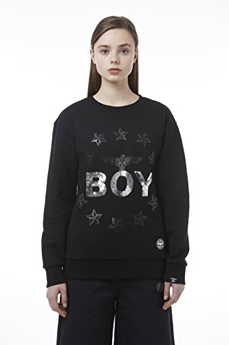 BOY London Unisex (S,M,L,XL) 18SS Boy With Circular Stars Sweatshirt - Black,White New_(BH1SS102) (Black, Small) by BOY London