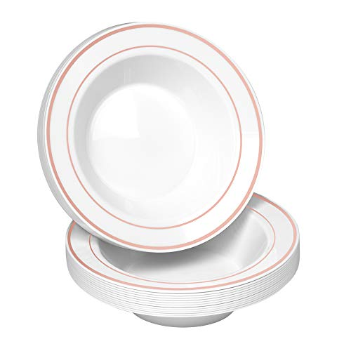 50 Disposable White with Rose Gold Trim Plastic Soup Bowls | 14 oz. Premium Heavy Duty Disposable Dinnerware with Real China Design | Safe & Reusable and Great for Parties or Weddings. (50-Pack)
