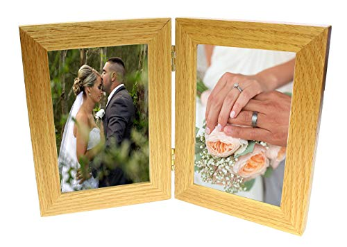benerini 2 Picture Double Oak Wooden Multi Aperture Collage Folding Photo Frame 4 x -