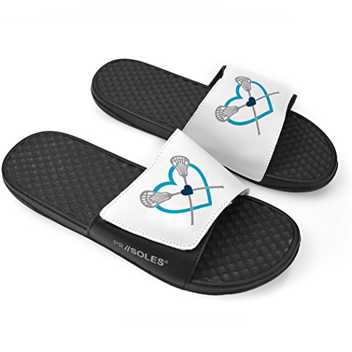ChalkTalkSPORTS White Girls Lacrosse Slide Sandals - Lax Heart with Crossed Sticks Teal yjtehHVdM