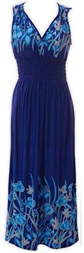 Maxi Neck Blue Floral Floral Bright Livativ Dress V Royal Printed Dresses TRwtZ7qB