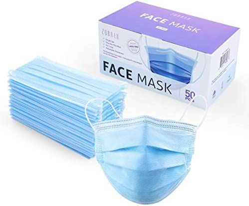 ZUBREX 50 Pcs Disposable 3 Ply Safety Face Mask for Protection - with Nanofiber Filter Lining Elastic Earloops, Lightweight Breathable Protective Anti-Dust Facial Masks Health School Office PPE