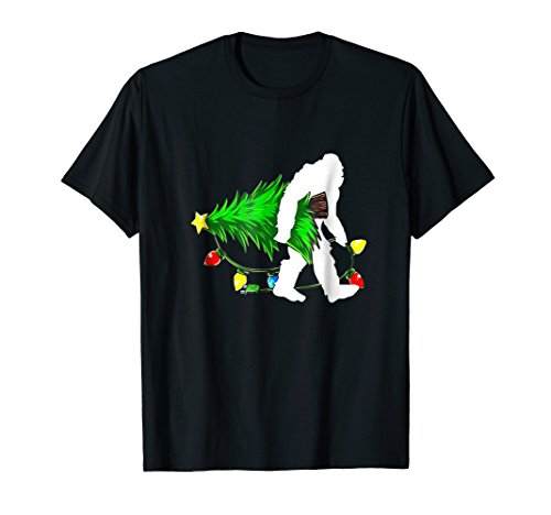 Bigfoot hairy Gorilla carrying Christmas Tree T-Shirt Gift